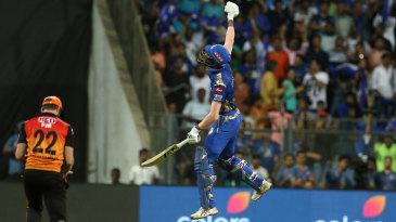 Hardik Pandya leaps after taking Mumbai Indians to a win