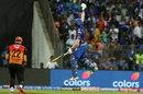 Hardik Pandya leaps after taking Mumbai Indians to a win, Mumbai Indians v Sunrisers Hyderabad, IPL 2019, Mumbai, May 2, 2019