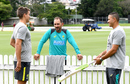 Justin Langer chats with Alex Carey and Usman Khawaja as Australia begin their camp, Brisbane, May 3, 2018