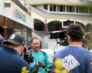 Justin Langer speaks to the media at the start of Australia's training camp, Brisbane, May 3, 2018