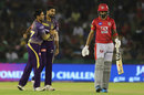 Sandeep Warrier is embraced after getting KL Rahul out, Kings XI Punjab v Kolkata Knight Riders, IPL 2019, Mohali, May 3, 2019