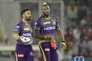 Dinesh Karthik and Andre Russell have a chat, Kings XI Punjab v Kolkata Knight Riders, IPL 2019, Mohali, May 3, 2019