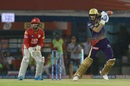 Shubman Gill punches through the covers, Kings XI Punjab v Kolkata Knight Riders, IPL 2019, Mohali, May 3, 2019