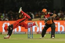 Parthiv Patel dives acrobatically as Manish Pandey looks to dab one, Royal Challengers Bangalore v Sunrisers Hyderabad, IPL 2019, Bengaluru, May 4, 2019