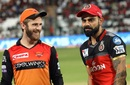 Kane Williamson and Virat Kohli before the toss, Royal Challengers Bangalore v Sunrisers Hyderabad, IPL 2019, Bengaluru, May 4, 2019