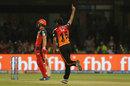 Bhuvneshwar Kumar wheels away after getting AB de Villiers, Royal Challengers Bangalore v Sunrisers Hyderabad, IPL 2019, Bengaluru, May 4, 2019