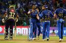 Hardik Pandya celebrates with his team-mates, Mumbai Indians v Kolkata Knight Riders, IPL 2019, Mumbai