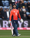 Ben Duckett grimaces after being given out on his T20I debut, England v Pakistan, only T20I, Cardiff, May 5, 2019