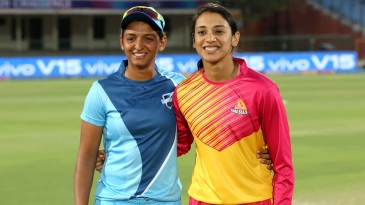 Captains Harmanpreet Kaur and Smriti Mandhana pose ahead of the toss