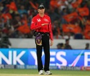 Nigel Llong signals a four, Sunrisers Hyderabad v Kolkata Knight Riders, IPL 2014, Hyderabad, May 18, 2014