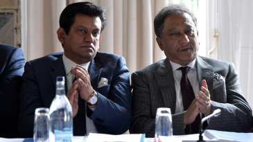 A file photo of BCB chief executive Nizamuddin Chowdhury and president Nazmul Hassan. Chowdhury says the BCB will consult various authorities before taking a call on the Sri Lanka tour