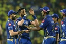 Krunal Pandya is congratulated after sending back Shane Watson, Mumbai Indians v Chennai Super Kings, IPL 2019 Qualifier 1, Chennai, May 7, 2019