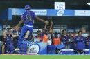 Jayant Yadav is jubilant after taking the catch to dismiss Shane Watson, Mumbai Indians v Chennai Super Kings, IPL 2019 Qualifier 1, Chennai, May 7, 2019