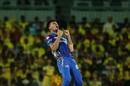 Rahul Chahar is pumped after dismissing M Vijay, Mumbai Indians v Chennai Super Kings, IPL 2019 Qualifier 1, Chennai, May 7, 2019