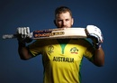 Aaron Finch poses during a photo session, May 7, 2019