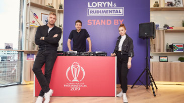Andrew Flintoff, Greg James and LORYN at the launch of the official World Cup song