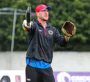 Fielding coach John Mooney directs the squad during an Afghanistan training session, Edinburgh, May 7, 2019