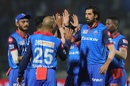 The Delhi Capitals players gather around Ishant Sharma after his early strike, Delhi Capitals v Sunrisers Hyderabad, IPL 2019 Eliminator, Vishakhapatnam, May 8, 2019
