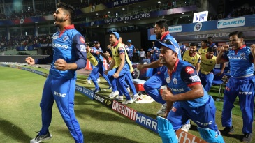 The Delhi Capitals players can't contain their emotions after winning their first playoff match
