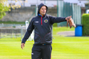 Afghanistan bowling coach Charl Langeveldt organizes his charges during training, Edinburgh, May 9, 2019