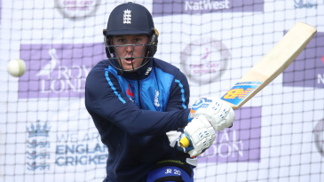 Jason Roy aims a reverse sweep in the nets