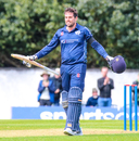 Calum MacLeod grins after reaching his second consecutive ODI century v Afghanistan, Scotland v Afghanistan, 2nd ODI, Edinburgh, May 10, 2019
