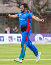 Gulbadin Naib celebrates after claiming his third wicket of the day, Scotland v Afghanistan, 2nd ODI, Edinburgh, May 10, 2019