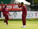 Sheldon Cottrell brings out the salute celebration, Ireland v West Indies, Match 4, Ireland tri-series, Dublin, May 11, 2019