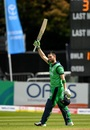 Andy Balbirnie raises his bat after a fine century, Ireland v West Indies, Match 4, Ireland tri-series, Dublin, May 11, 2019