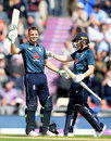 Eoin Morgan congratulates Jos Buttler on his eighth ODI hundred, England v Pakistan, 2nd ODI, Ageas Bowl, May 11, 2019
