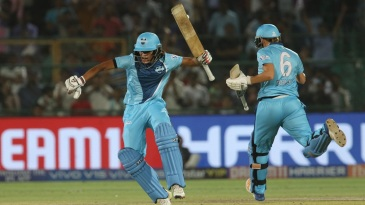 Lea Tahuhu and Radha Yadav celebrate Supernovas' winning moment