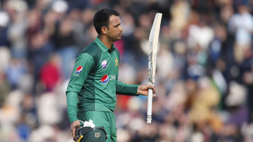 Fakhar Zaman salutes the crowd after his hundred