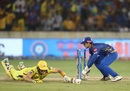 Quinton de Kock flicks the ball on to the stumps to find Shane Watson short, Mumbai Indians v Chennai Super Kings, IPL 2019 final, Hyderabad, May 12, 2019