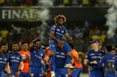 Kieron Pollard lifts Lasith Malinga on his shoulders after victory, Mumbai Indians v Chennai Super Kings, IPL 2019 final, Hyderabad, May 12, 2019