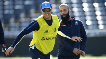 Jason Roy and Moeen Ali during England training