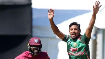 Mustafizur Rahman appeals for a wicket