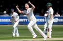 Sam Cook celebrates a breakthrough, Essex v Nottinghamshire, County Championship, Chelmsford, 1st day, May 14, 2019