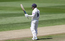 Tom Alsop raises his bat on reaching 50, Warwickshire v Hampshire, County Championship, Edgbaston, 1st day, May 14, 2019