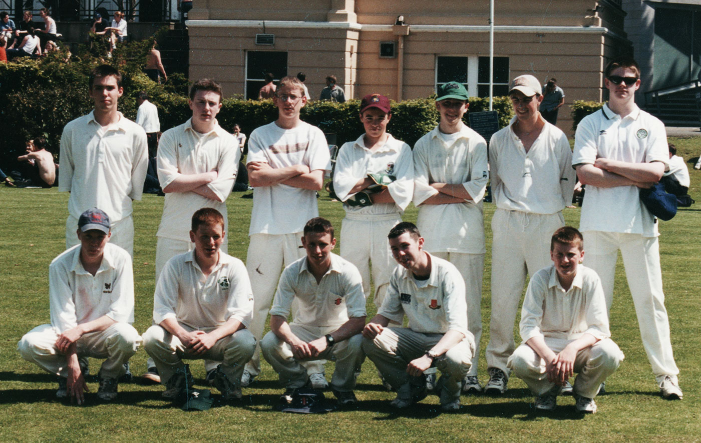 Morgan (squatting, second from left) with his CUS team after winning an Under-19 tournament, 2001