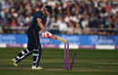 Jonny Bairstow has a swing at his stumps after being bowled for a brilliant hundred, England v Pakistan, 3rd ODI, Bristol, May 14, 2019