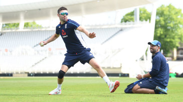 Mark Wood fields during England practice