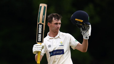 Nick Selman celebrates after scoring a century