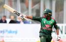 Mosaddek Hossain points his bat to the Bangladesh dressing room, West Indies v Bangladesh, tri-nation series final, Malahide, May 17, 2019