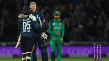 Job done: Ben Stokes and Adil Rashid celebrate victory