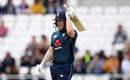 Eoin Morgan raises his bat on reaching fifty, England v Pakistan, 5th ODI, Headingley, May 19, 2019