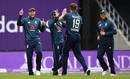 Chris Woakes celebrates with Joe Root after dismissing Fakhar Zaman, England v Pakistan, 5th ODI, Headingley, May 19, 2019