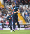 Chris Woakes celebrates with a fist pump, England v Pakistan, 5th ODI, Headingley, May 19, 2019