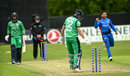 Mark Adair edged the ball onto the stumps off Aftab Alam, Ireland v Afghanistan, 1st ODI, Belfast, May 19, 2019