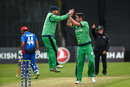 Paul Stirling jumps with joy to celebrate with Mark Adair, Ireland v Afghanistan, 1st ODI, Belfast, May 19, 2019