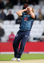 David Willey reacts to a near-miss, England v Pakistan, 5th ODI, Headingley, May 19, 2019